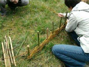stage fabrication  d'un pléssi bordure de pelouse tressé en osier 2