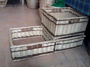tiroir fabrication francaise en osier blanc avec lisere brut vert ou marron ou osier gris